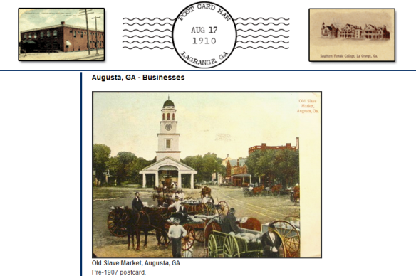 Old Slave Market in Augusta on postcard