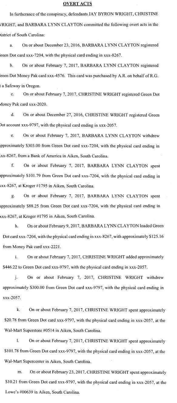 Aiken Green Dot Scam indictment graphic 3