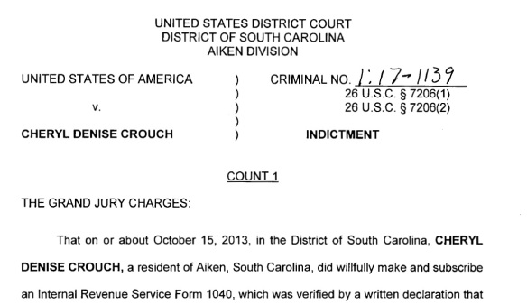Cheryl Denise Crouch indictment graphic 2